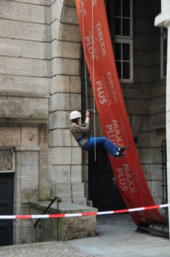 Wuppertaler Alpinisten kletterten am Rathaus